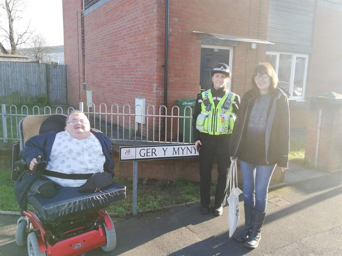 PCSO Carys Norman and County Borough Cllr Karen Morgan